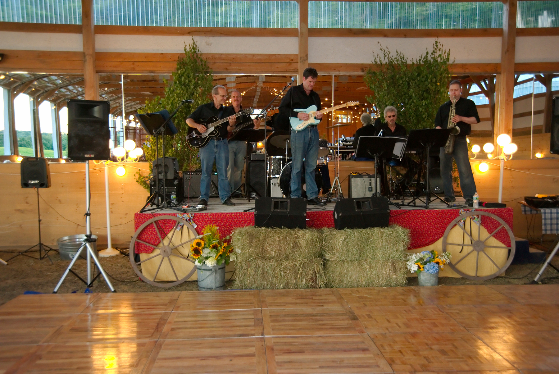 band playing on a stage