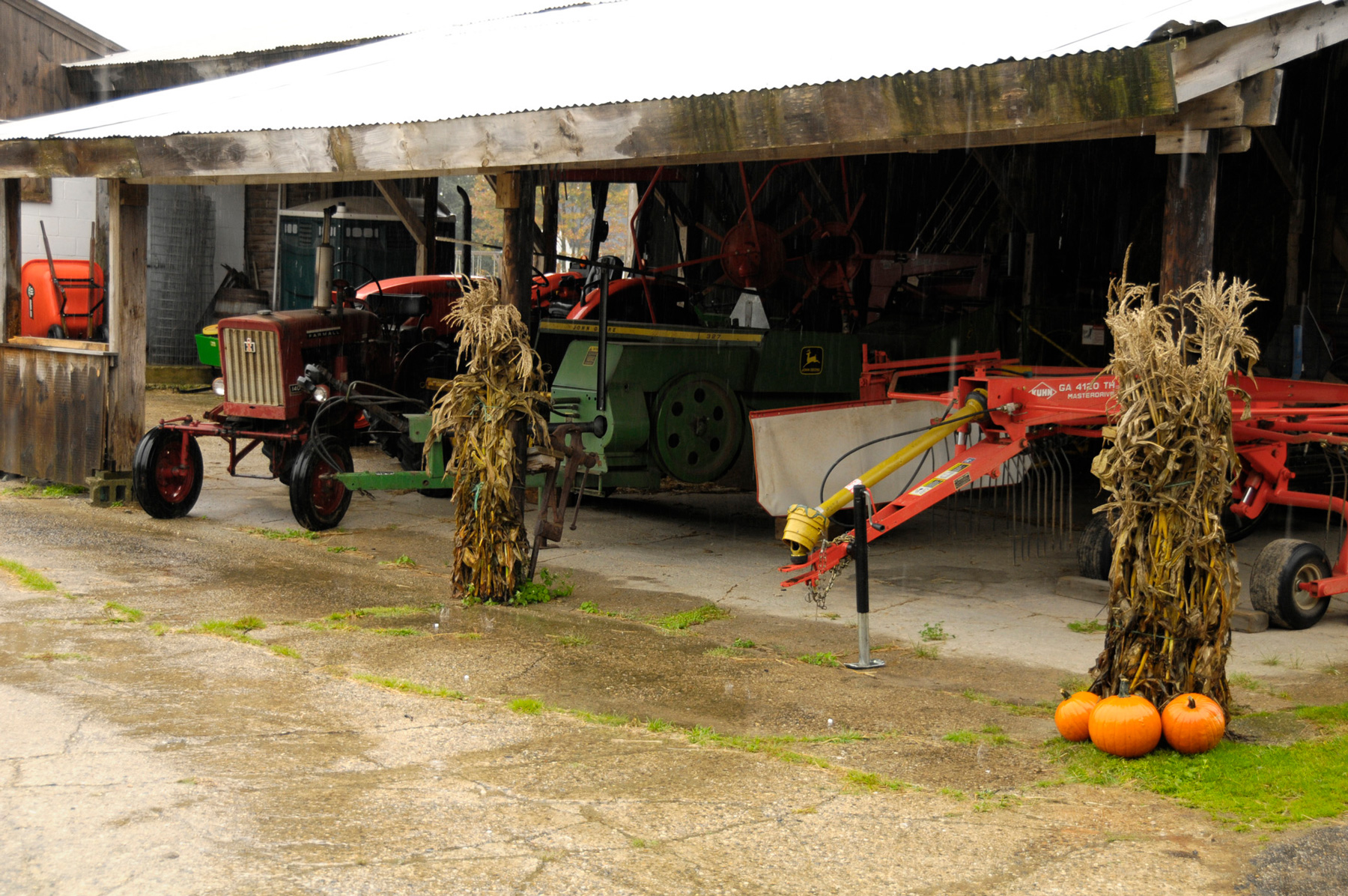 farm equipment with fall decorations