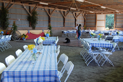 tables set up for a function